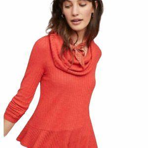"Maeve by Anthropologie ""Winterscape"" Orange Cowl Neck Sweater"